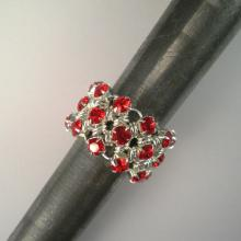 Japanese Chain Maille Eternity Ring in Red Swarovski Crystal