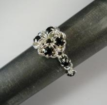Chain Maille Flower Ring in Jet Black Swarovski Crystal