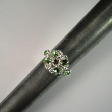 Chain Maille Flower Ring in Peridot Green Swarovski Crystal