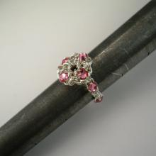 Chain Maille Flower Ring in Rose Pink Swarovski Crystal
