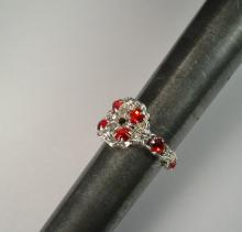 Chain Maille Flower Ring in Red Swarovski Crystal