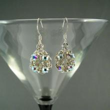 Chain Maille Flower Earrings in Iridescent Swarovski Crystal