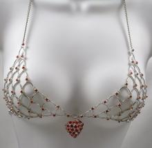 Red Heart Swarovski Crystal Chain Maille Bikini Top