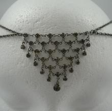 Art Deco Chain Maille Circlet in Black Diamond Crystal