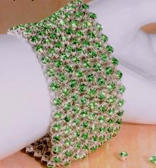 Diamond Meadows Cuff Bracelet in Peridot Green Swarovski Crystal