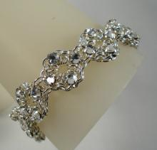 Chain Maille Flower Bracelet in White Swarovski Crystal